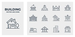 Set of Building icon. Building pack symbol template for graphic and web design collection logo vector illustration