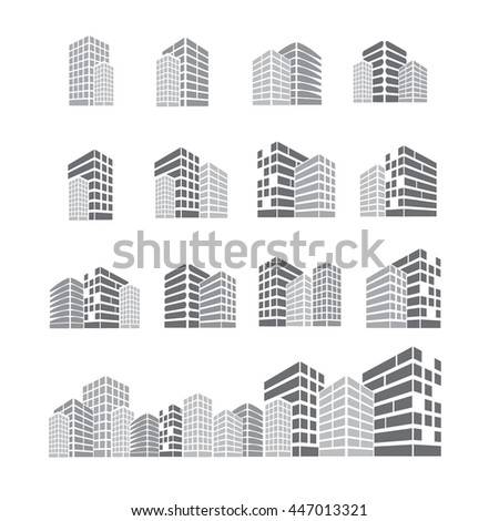 set of building icon in black and white vector illustration