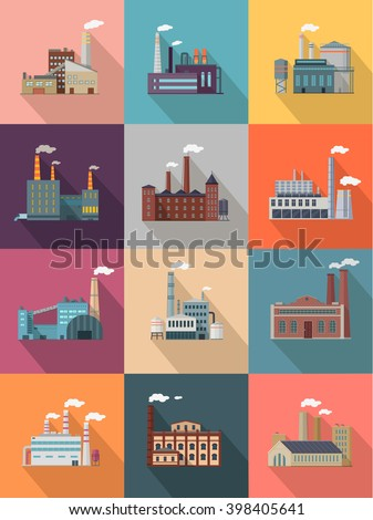 Set of building plant or industrial factory. Building big set of plant and factory of industry power or refinery, industrial energy power construction plant with pipe smoke. Vector illustration