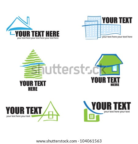 Set of 6 building real estate icons and design elements