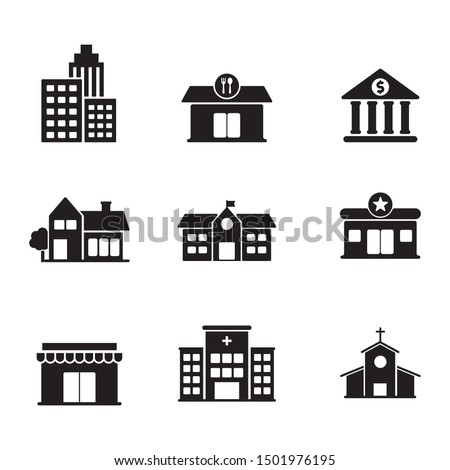 Set of building related icon such as school, hospital, house and more with black and white design