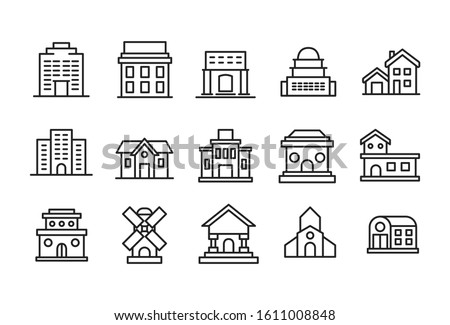 Set of building related vector line icons. Premium linear symbols pack. Vector illustration isolated on a white background. Web symbols for web sites and mobile app. Trendy design.