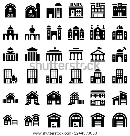 set of buildings home hotel residential property school solid black icon.