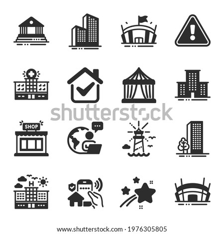 Set of Buildings icons, such as Hospital building, Buildings, Arena symbols. Arena stadium, Lighthouse, Court building signs. Skyscraper buildings, University campus, Circus tent. Shop. Vector