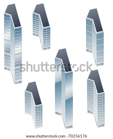 Set of buildings in form of alphabet. Letter 1