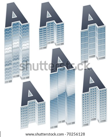 Set of buildings in form of alphabet. Letter a