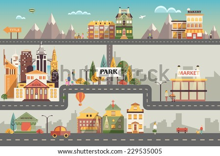 Set of buildings in the style of small business flat design. Roads and city against the sky and snow-capped mountains. Architecture of a town market, salon, pharmacy, bakery, bank, coffee shop