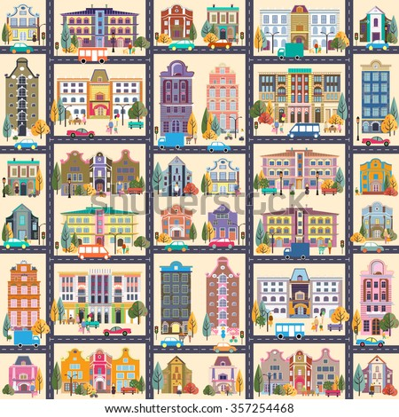set 1 of buildings in the style