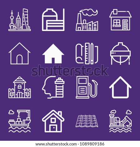 set of 16 buildings outline