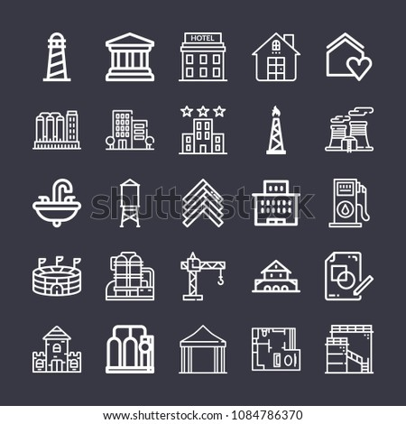 set of 25 buildings outline