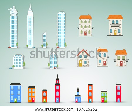 Set of buildings. Vector