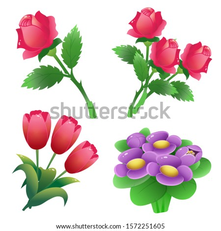 Set of bunches of flowers. Color images of scarlet roses, tulips, violets on white background. Vector illustration.