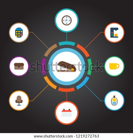 Set of bureau icons flat style symbols with wall clock, calendar, stapler and other icons for your web mobile app logo design.