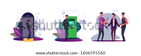 Set of burglars committing crimes. Flat vector illustrations of thieves opening door with crowbar, robbing ATM, robbing young man. Crime concept for banner, website design or landing web page