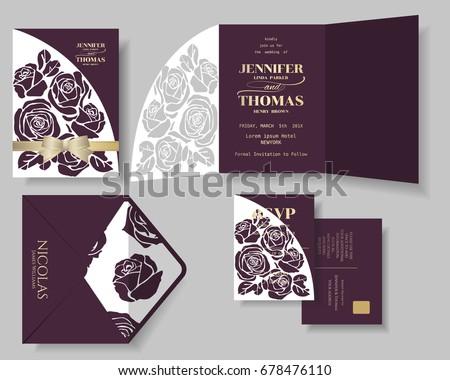 Set of Burgundy Rose Laser Cut with Golden Ribbon Wedding Invitation Card.Vector/Illustration