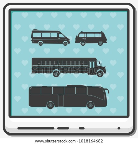 Set of buses flat vector icons.