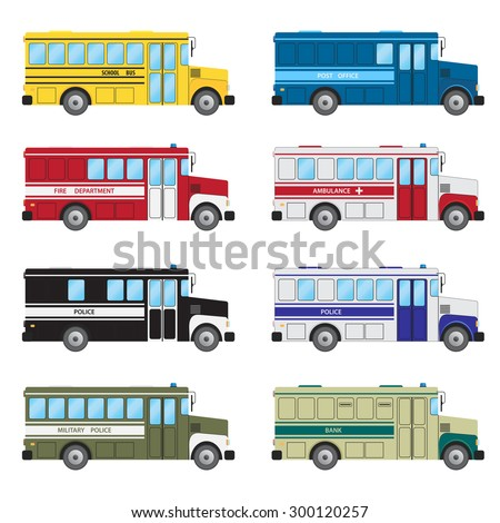 Set of buses of emergency services on the white background.