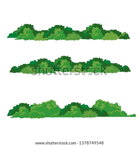 Set of bushes landscape isolated icon, vector illustration,flat design. Foto d'archivio ©