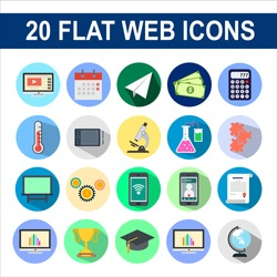 Set of business and finance flat web icon. Finance vector illustration with long shadow.