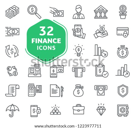 Set of business and finance icons. Outline icons collection. Thin lines web icons set. Flat design. Ui icons #1223977711