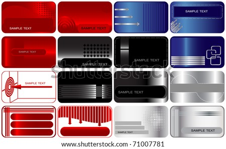 Set of 16 business and gift cards. vector. - stock vector
