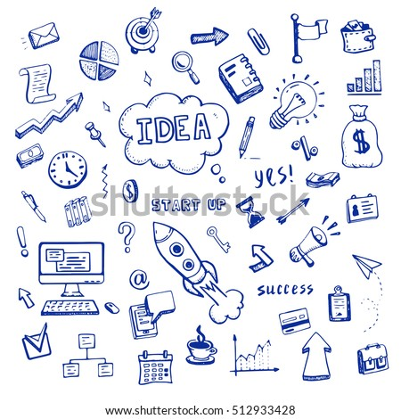 Set of business and start up doodles. Hand drawn financial doodle sketch elements: hourglass, rocket, book, arrow, graph, chart, laptop, tool. Vector illustration.