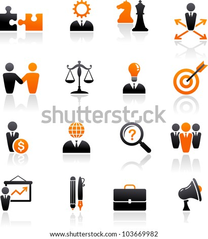 set of business and strategy icons - stock vector