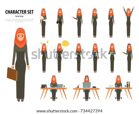 Set of business arab woman character with hijab. muslim people character vector.