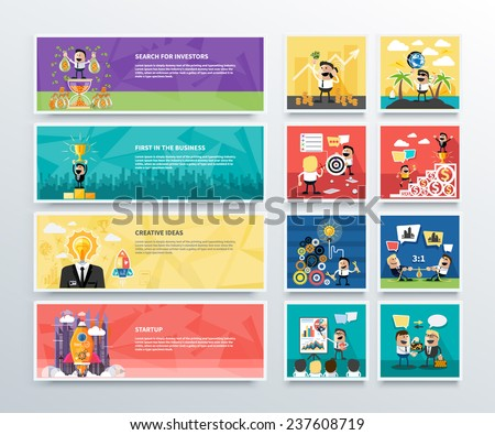 set of business banners of