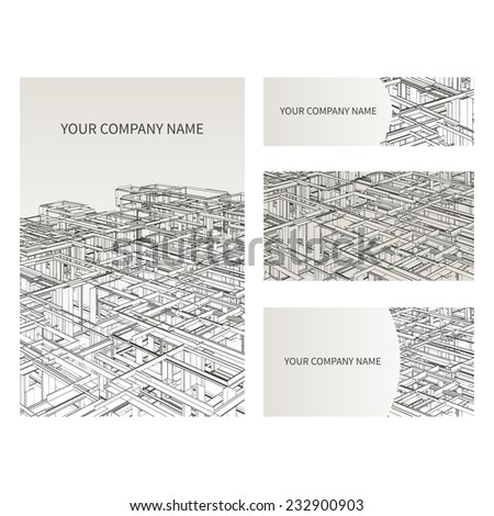 set of business card and...