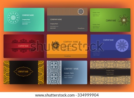 Yoga business card template download free vector art stock set of business card and invitation card templates with lace ornament yoga center indian reheart Choice Image