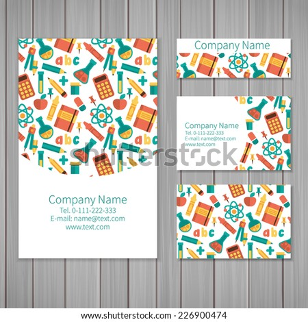 Set of business card and invitation card templates with pattern of scientific Vector background Calculator tube molecules pencils and other objects