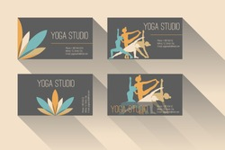 Set of business card for yoga studio or yoga instructor. Dark background.