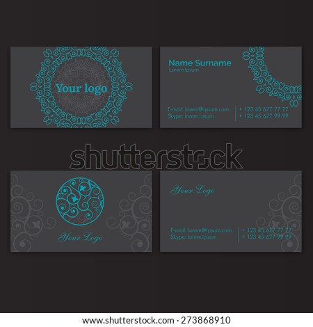 Set of business card with floral circle arabic ornament