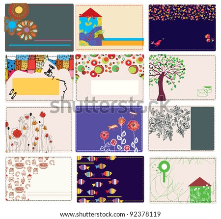 Set of business card with patterns