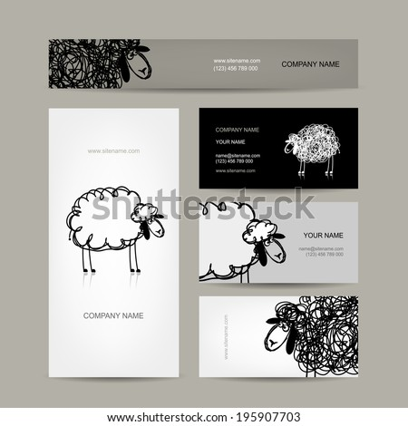 set of business cards design