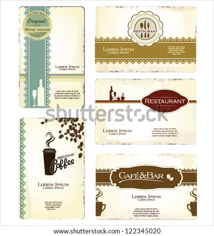 Set of 5 business cards for cafe and restaurant