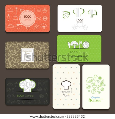 Kitchen business card vectors download free vector art stock set of business cards for cafe and restaurant vector illustration reheart Image collections