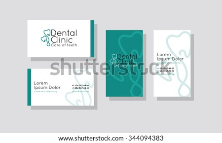 Set of business cards for dentistry
