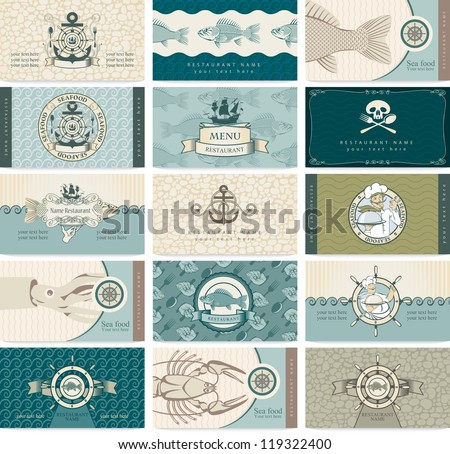 set of business cards on a sea theme and seafood