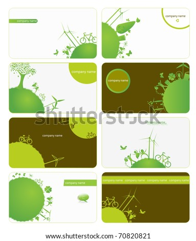 set of business cards on green