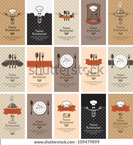 set of business cards on the theme of food beverages