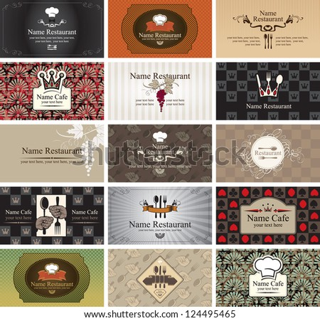 set of business cards on the topic of food and beverages