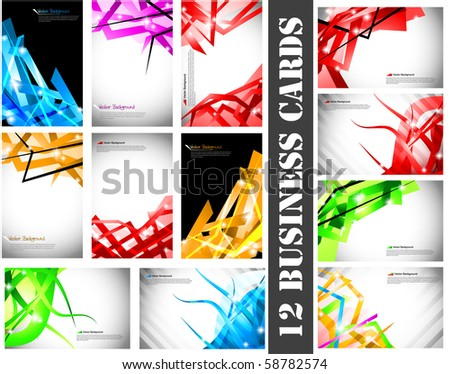 Set of 12 business cards.Vector illustration.