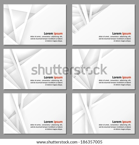 Set of business cards with a neutral background - paper and shadows. Vector.