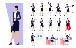 Set of business characters isolated on white background. Businessman in the workplace. Manager is busy different things, goes, stands, works on the pc, speaks on the phone. Vector illustration.