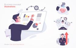 Set of business concept illustration. Modern flat style vector illustration