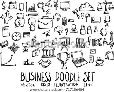 Set of business doodle illustration Hand drawn Sketch line vector