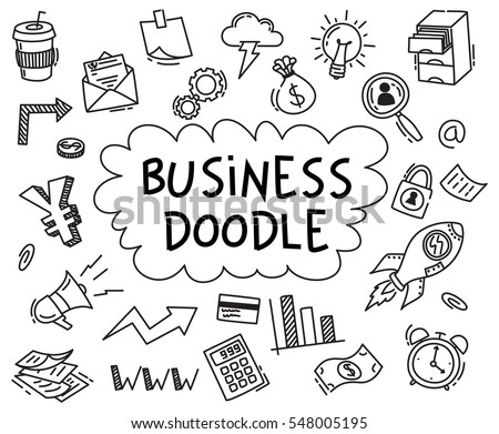 Set of business doodle on white background