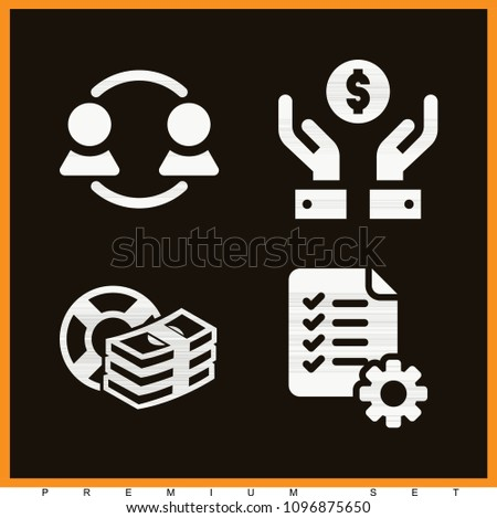 Set of 4 business filled icons such as list, teamwork, safety money